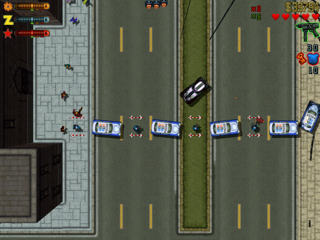 Grand Theft Auto 2 Windows Road blockade.