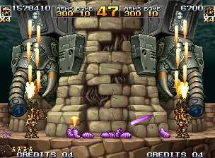 Metal Slug 5 Neo Geo Next obstacle: two masked guys in elephant-shaped cockpits will shoot purple slugs and laser beams.