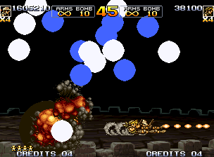 Metal Slug 5 Neo Geo Sliding and shooting, Eri and Fio gets to avoid simultaneously a row of air-energy flashing balls.