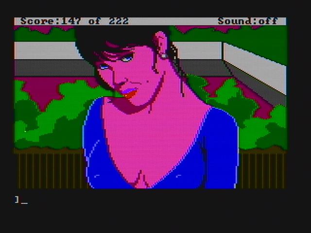 Leisure Suit Larry in the Land of the Lounge Lizards DOS Meet Faith in this closeup view (CGA with composite monitor)