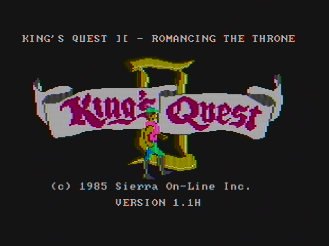 King's Quest II: Romancing the Throne PC Booter Title screen (CGA with composite monitor)