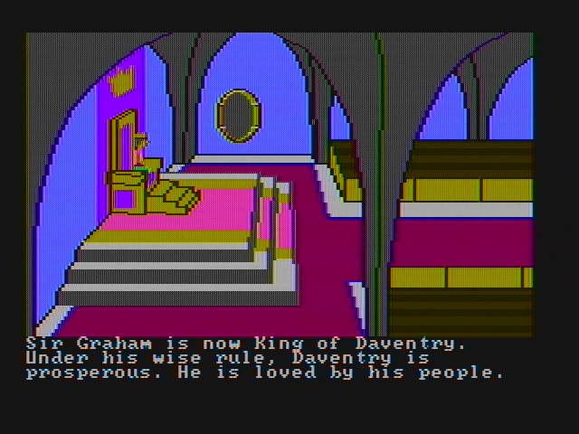 King's Quest II: Romancing the Throne PC Booter The game introduction (CGA with composite monitor)