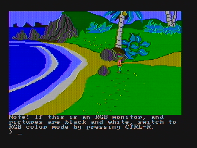 King's Quest II: Romancing the Throne PC Booter The game begins here (CGA with composite monitor)