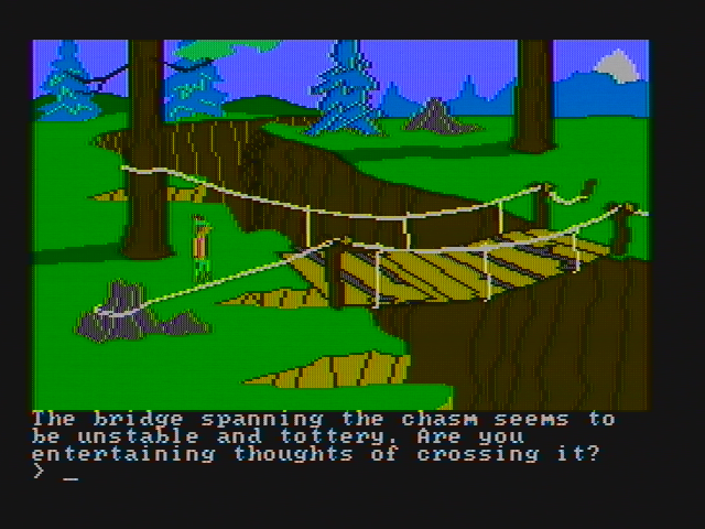 King's Quest II: Romancing the Throne PC Booter Yes, I am indeed thinking of crossing this bridge... (CGA with composite monitor)