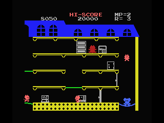 Mappy MSX A trampoline changes color when you jump on it. When turned red it will break
