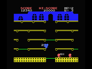 Mappy MSX You can walk at the attic to bypass some trampolines