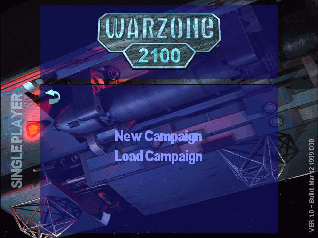 Warzone 2100 Windows very simple campaign menu
