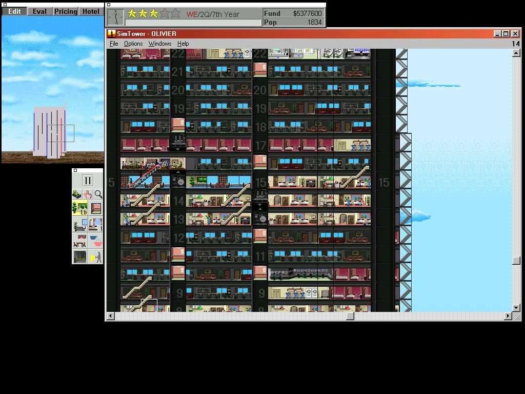 SimTower: The Vertical Empire Windows 3.x Sample Desktop