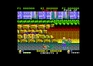 Double Dragon Amstrad CPC One of your enemies is down on the ground