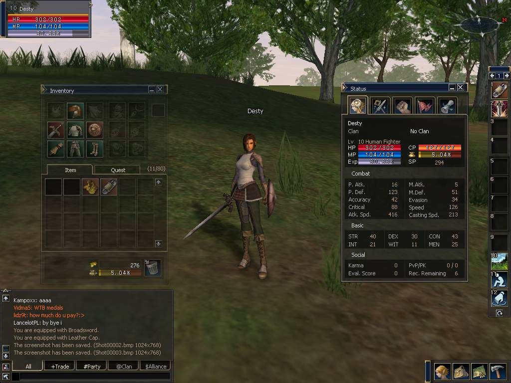 Lineage II: The Chaotic Chronicle Windows Stats and equipment