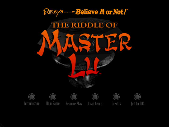 Ripley's Believe It or Not!: The Riddle of Master Lu DOS Main menu