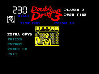 Double Dragon III: The Sacred Stones Amstrad CPC Purchasing something at the weapon shop