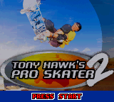 Tony Hawk's Pro Skater 2 Game Boy Color Title screen.