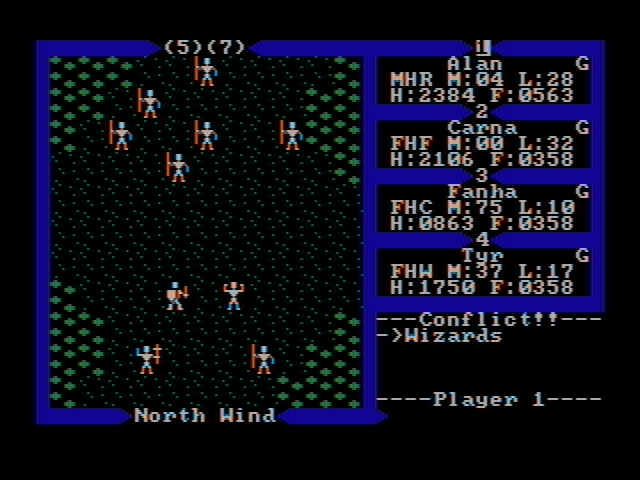 Exodus: Ultima III DOS Fighting wizards (CGA with composite monitor)