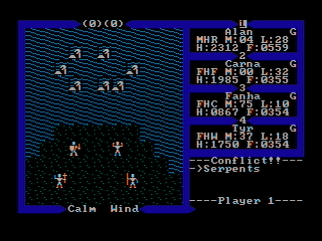 Exodus: Ultima III DOS Fighting sea serpents (CGA with composite monitor)