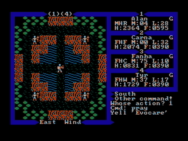 Exodus: Ultima III DOS Receiving an important clue (CGA with composite monitor)