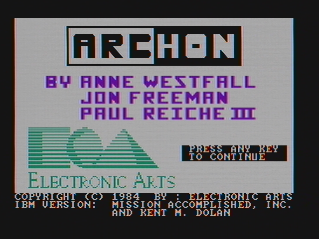 Archon: The Light and the Dark PC Booter Title screen (CGA with composite monitor)