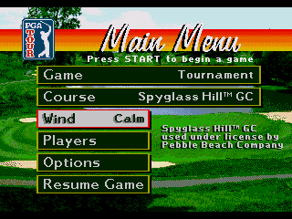 PGA Tour 96 Genesis The same can be said about the main menu