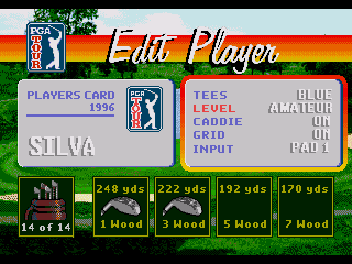 PGA Tour 96 Genesis In here you set your game preferences. However, don't expect options for outrageous clothes.
