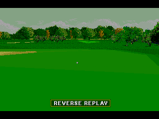 PGA Tour 96 Genesis ... and the reverse angle replay confirms a good drive, which lands on the fairway.