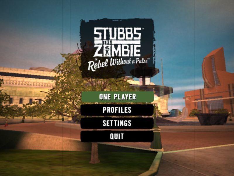 Stubbs the Zombie in Rebel Without a Pulse Windows Menu Screen