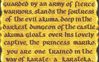 Karateka Atari ST Plot information