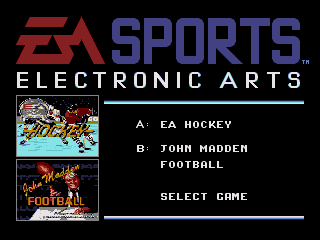 EA Sports Double Header Genesis Game selection screen