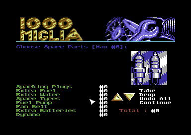 1000 Miglia Commodore 64 Make sure to carry the right spares