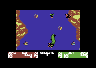 Toobin' Commodore 64 Watch the crocodile