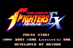 The King of Fighters EX: Neo Blood Game Boy Advance Title screen.