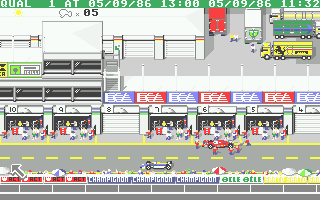 Ferrari Formula One Atari ST In the pits getting ready for a race