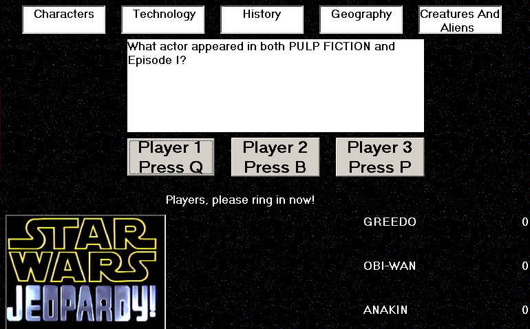 Star Wars: Jeopardy! Windows A question being asked