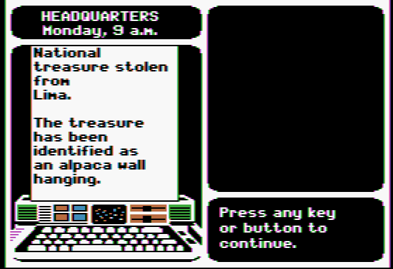 Where in the World is Carmen Sandiego? Apple II Here's your assignment