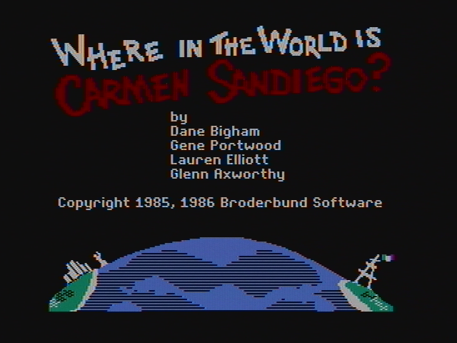 Where in the World is Carmen Sandiego? DOS Title screen (CGA with composite monitor)