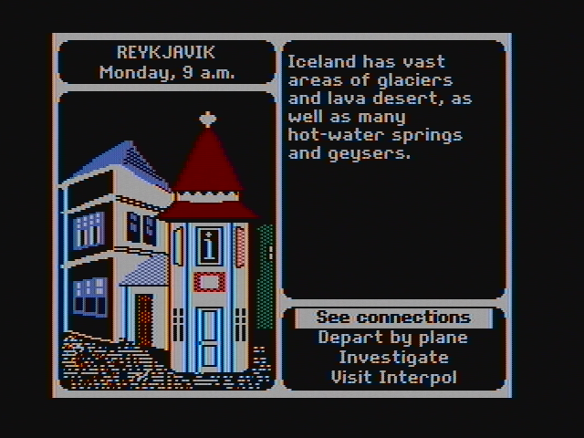 Where in the World is Carmen Sandiego? DOS I'm beginning my investigation in Reykjavik. (CGA with composite monitor)