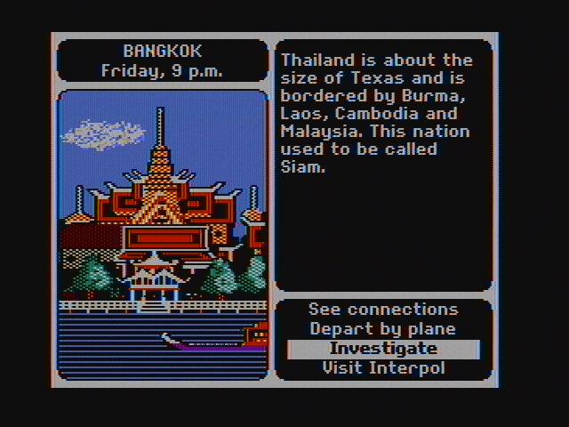 Where in the World is Carmen Sandiego? DOS Hmm, anything in Bangkok? (CGA with composite monitor)