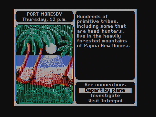 Where in the World is Carmen Sandiego? DOS Choose an action from the menu in the bottom right. (CGA with composite monitor)