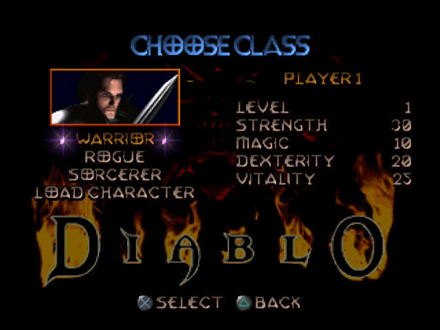 Diablo PlayStation Creating our hero.