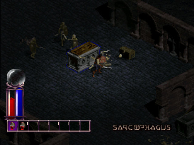 Diablo PlayStation Fighting with skeletons.