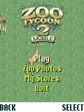 Zoo Tycoon 2 Mobile BREW Menu of the game (BREW version)