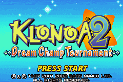 Klonoa 2: Dream Champ Tournament Game Boy Advance Title Screen