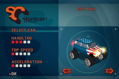 Stuntcar Extreme Zodiac Car selection screen
