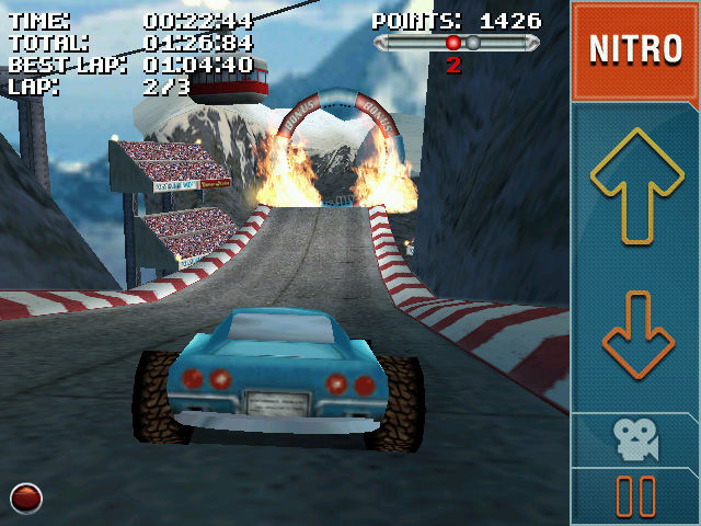 Stuntcar Extreme Advanced Windows Mobile Approaching a ring of fire on Rollercoaster track