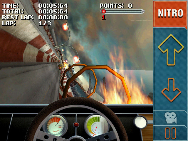 Stuntcar Extreme Advanced Windows Mobile Interior view when falling of a stunt ramp on Ring of Fire track