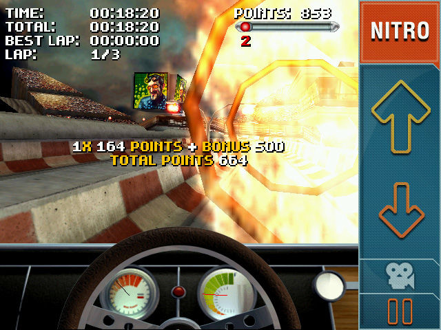 Stuntcar Extreme Advanced Windows Mobile Bonus points shown after a successful stunt jump