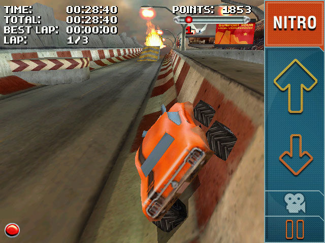 Stuntcar Extreme Advanced Windows Mobile Driving Even Steven car on Ring of Fire track