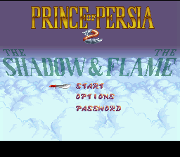 Prince of Persia 2: The Shadow & The Flame SNES Title screen.