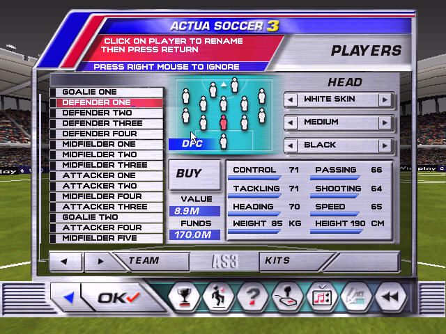 Actua Soccer 3 Windows ... and buying or creating players