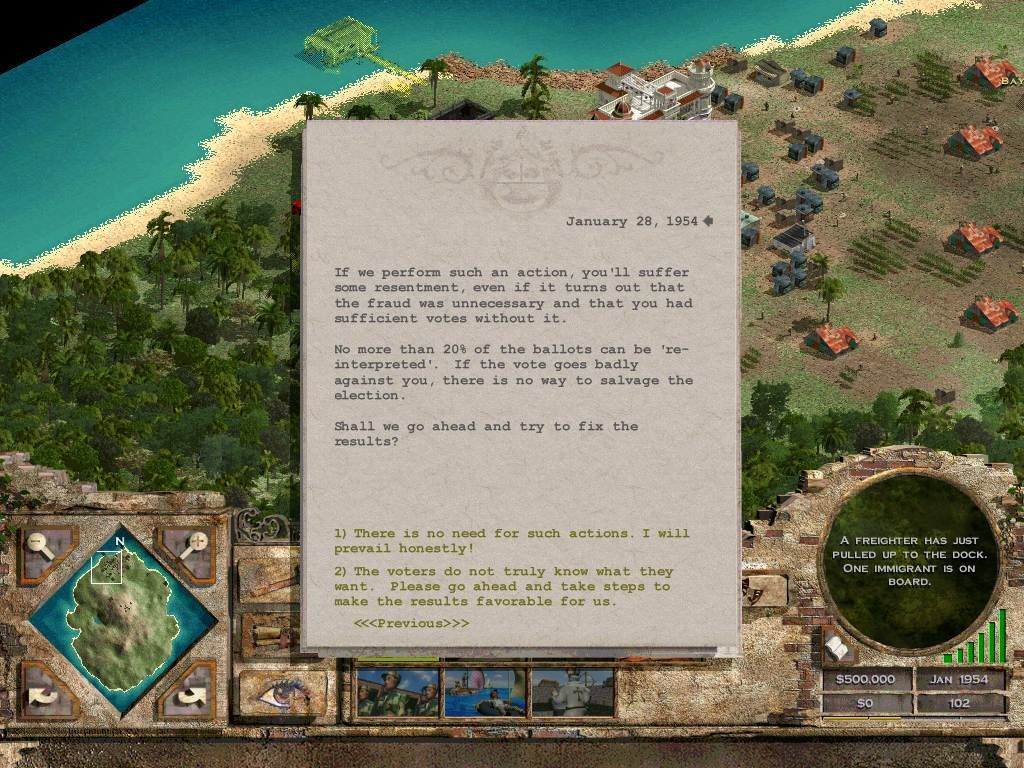 Tropico Windows I can't lose! When elections come up, you can either ignore the peasants' cries or can manipulate the election. Or you can just assassinate your opponent.