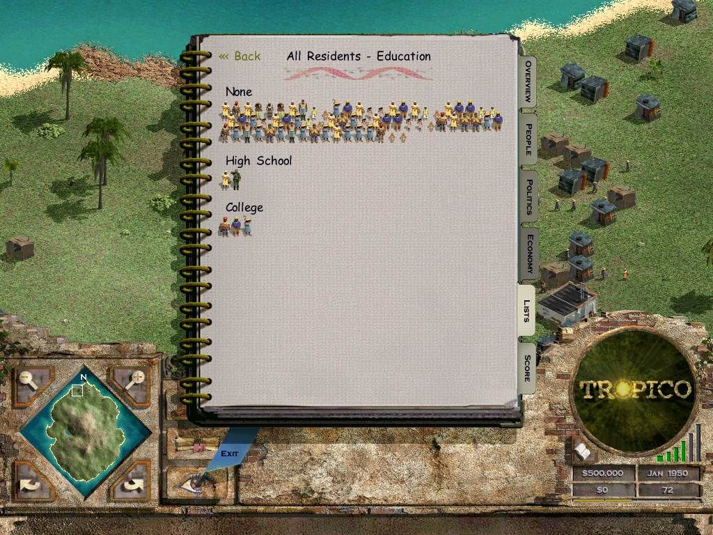 Tropico Windows The Almanac provides a wealth of information about your populace in a pretty, graphical format.